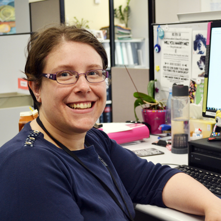 Hayley at her work desk