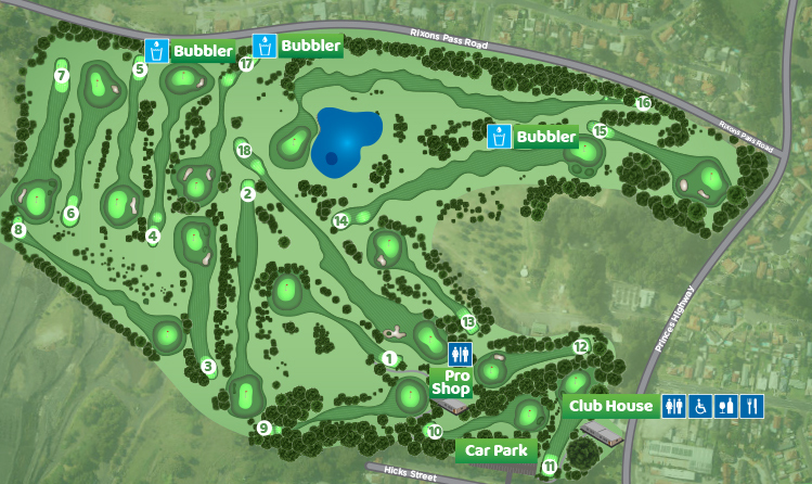 map of course layout at The Vale golf course