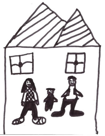 Drawing by Curtis of two adults and a child in a house